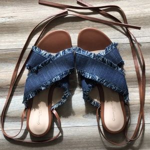 NEW   GIANVITO ROSSI Frayed Denim Lace Up Slides